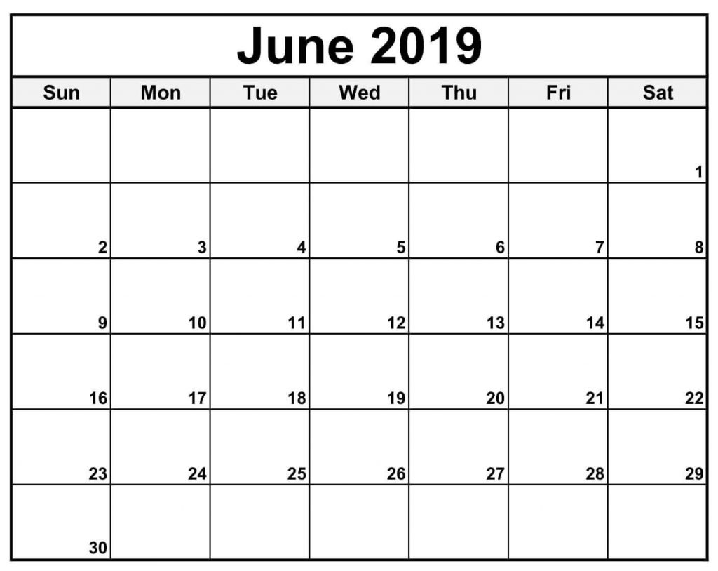 Blank Calendar For June 2019 Word
