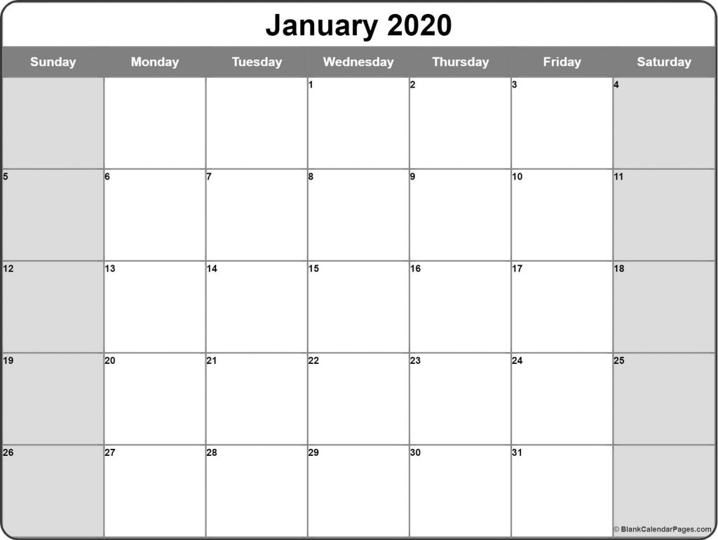 Printable Monthly Calendars 2020 January 2020 calendar