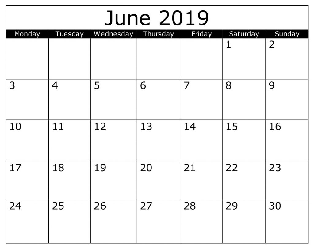 Blank June 2019 Calendar Printable Template