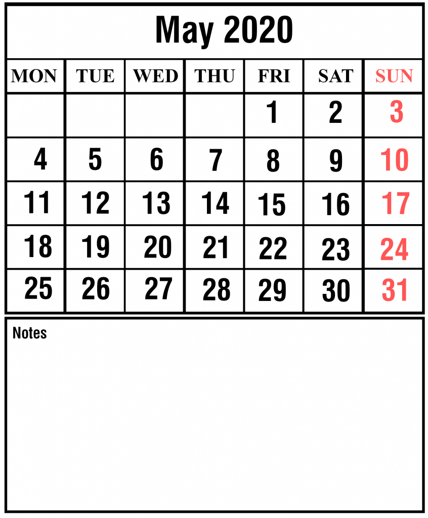 Blank May Calendar 2020 Template with Holidays