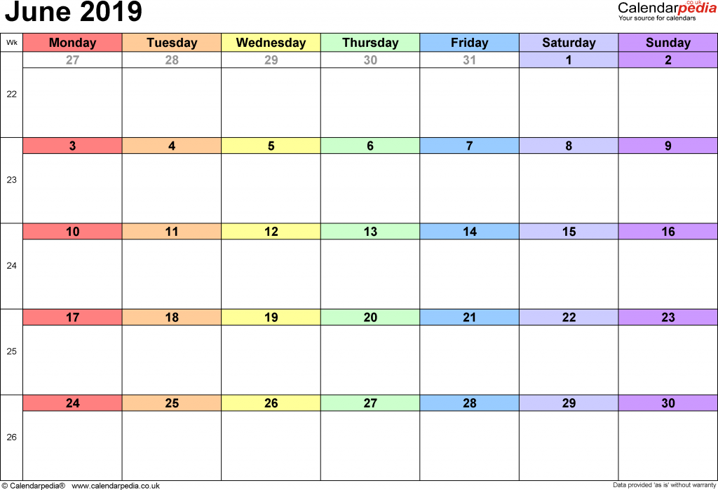 Calendar June 2019 in landscape format