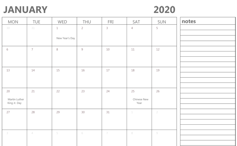 Editable january 2020 Calendar with Holidays and Notes