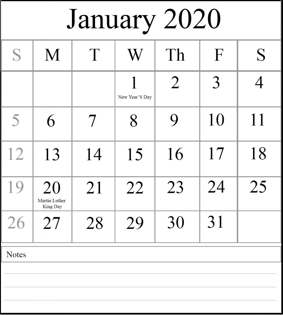 Fillable January Calendar 2020 Notes