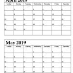 April May 2019 Calendar Printable Template Free Download