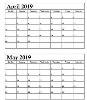 Free April May 2019 Calendar Printable