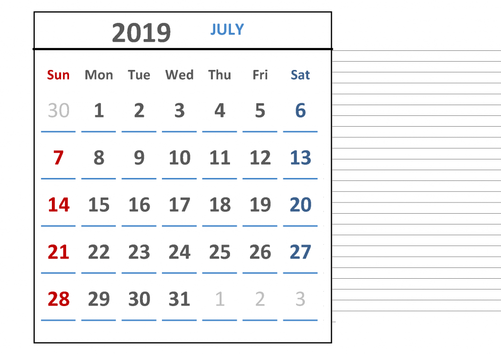 Free July 2019 Calendar Download