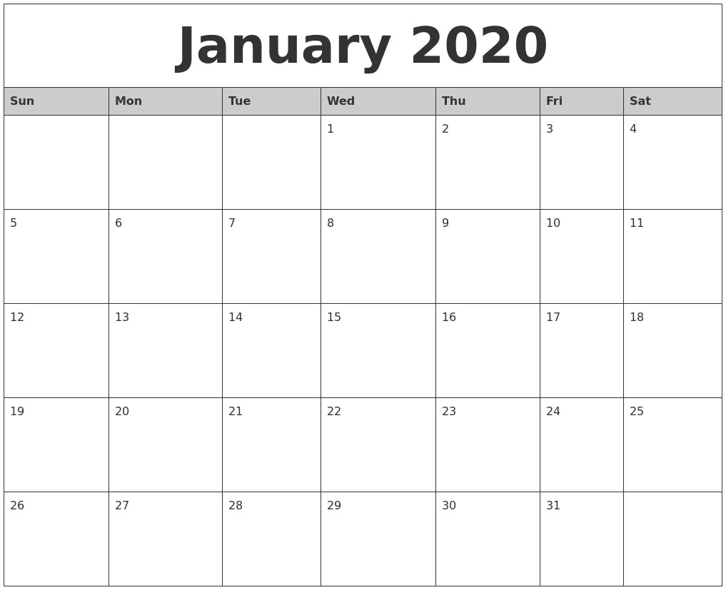 January 2020 Monthly Calendar