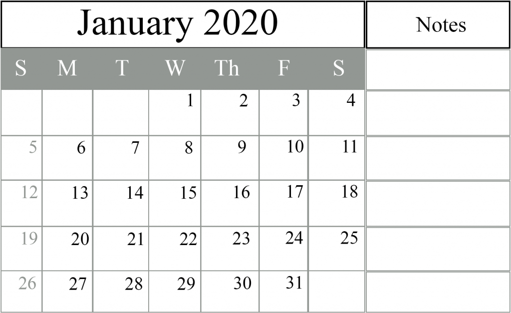 January 2020 Schedule Template