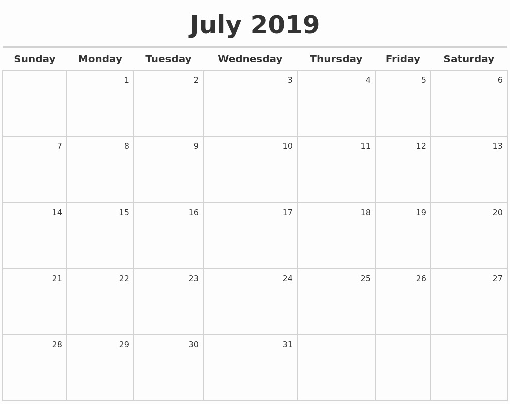 Monthly July Calendar 2019 Word