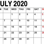 Blank July 2020 Calendar Printable Template Holidays in PDF Word Excel