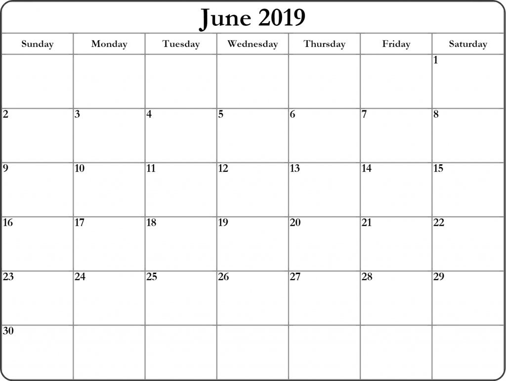 June 2019 Blank Calendar Printable Templates