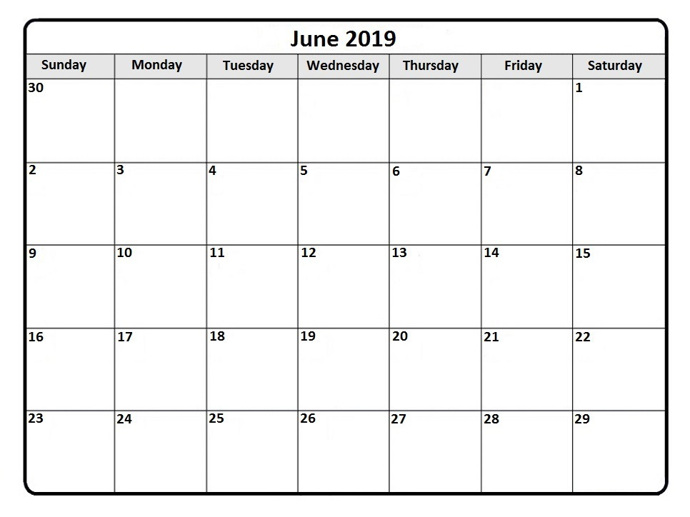 June 2019 Blank Calendar Waterproof
