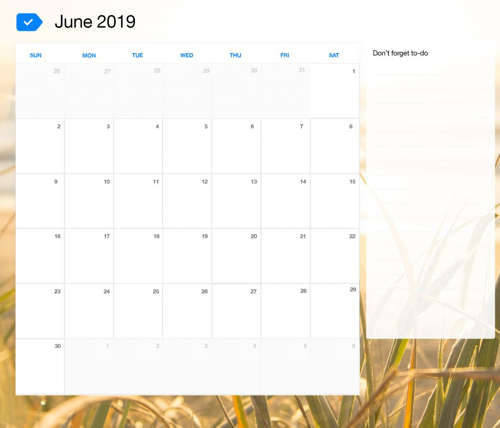 Blank June 2019 Calendar with Large Space