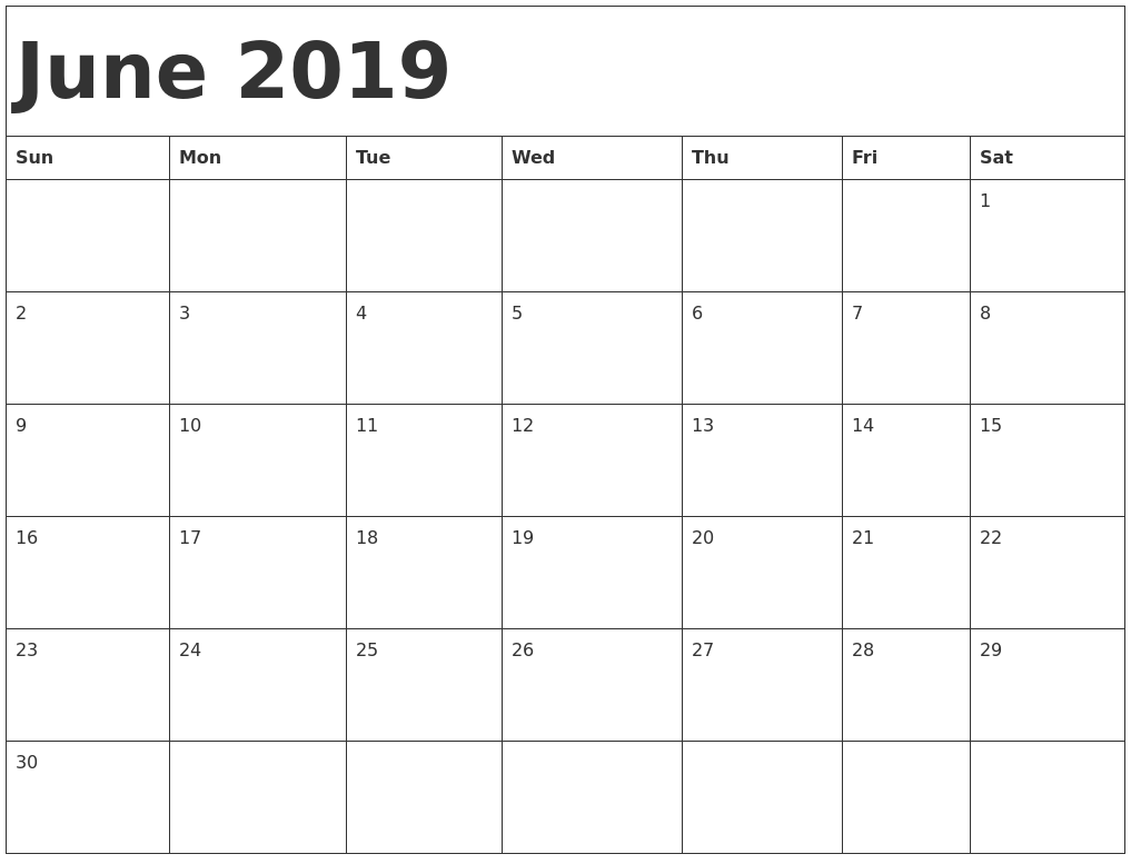 Calendar Sheet January 2019 Free June 2019 Printable Calendar Blank Templates