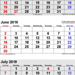 Free May June July 2019 Calendar Printable Download