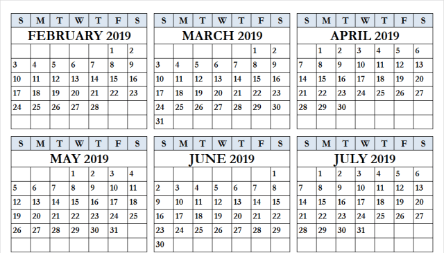 May June July 2019 Calendar Template