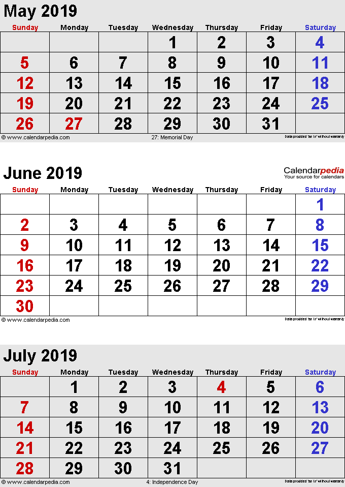 May June July 2019 Calendar