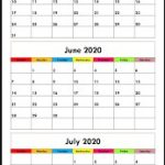 Free May June July 2020 Calendar Printable Download