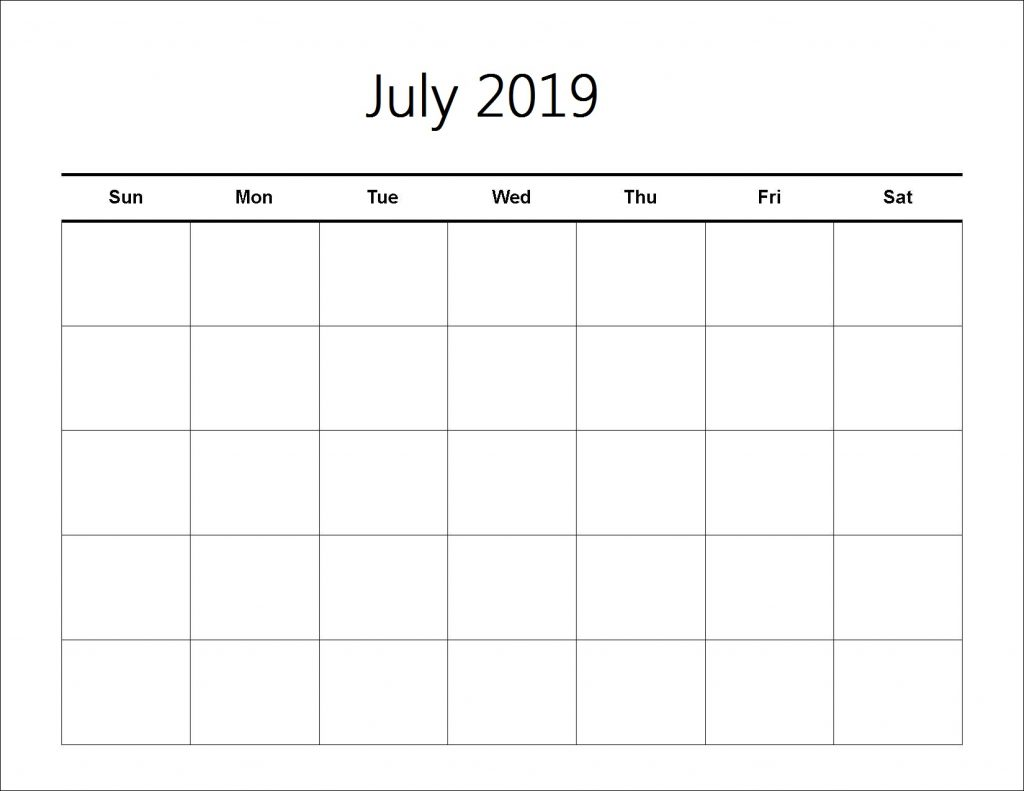 Printable Calendar of July 2019