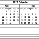 April May 2020 Calendar Printable Template Free Download