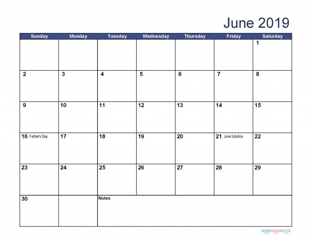 June 2019 Calendar Holidays