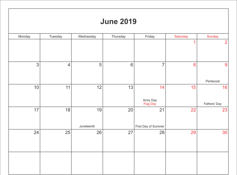 June 2019 Calendar With Holidays Canada