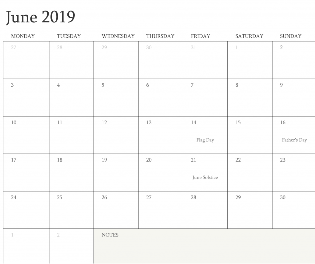 June 2019 Calendar With Holidays Notes