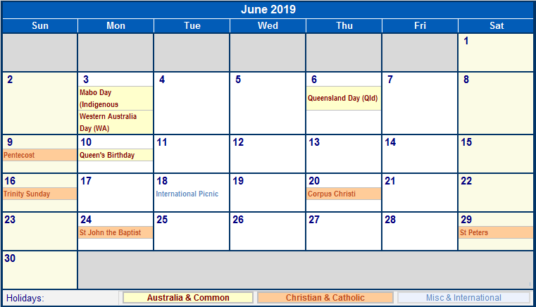 June 2019 Calendar With Holidays USA