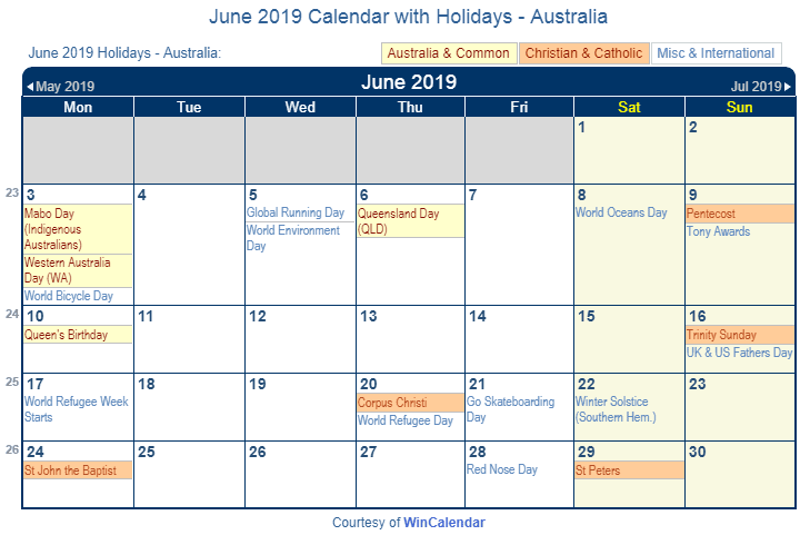 June 2019 Calendar with Australian Holidays