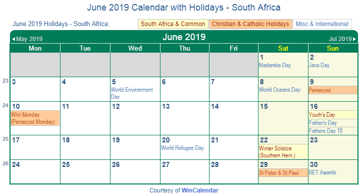 June 2019 Calendar with South Africa Holidays