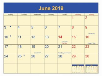 June 2019 Moon Phases Calendar With Holidays