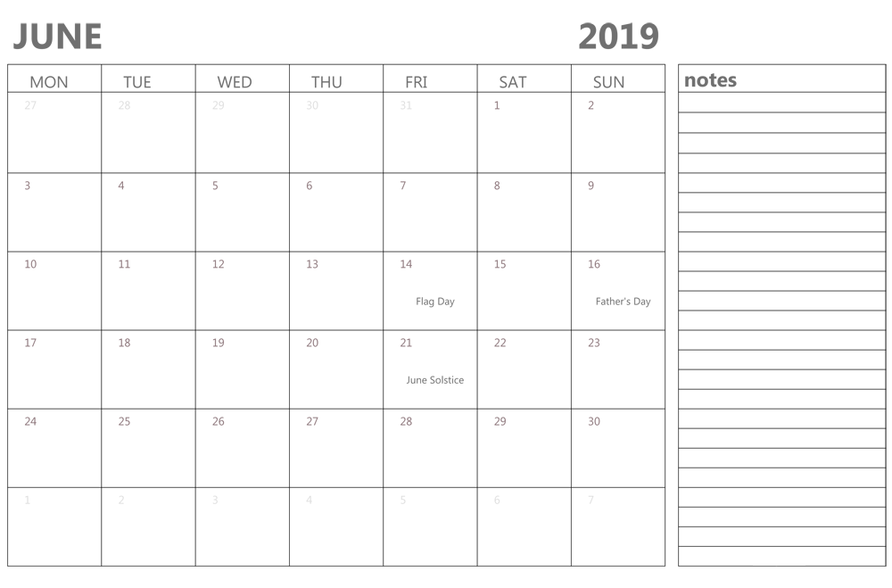 June Calendar 2019 Holidays