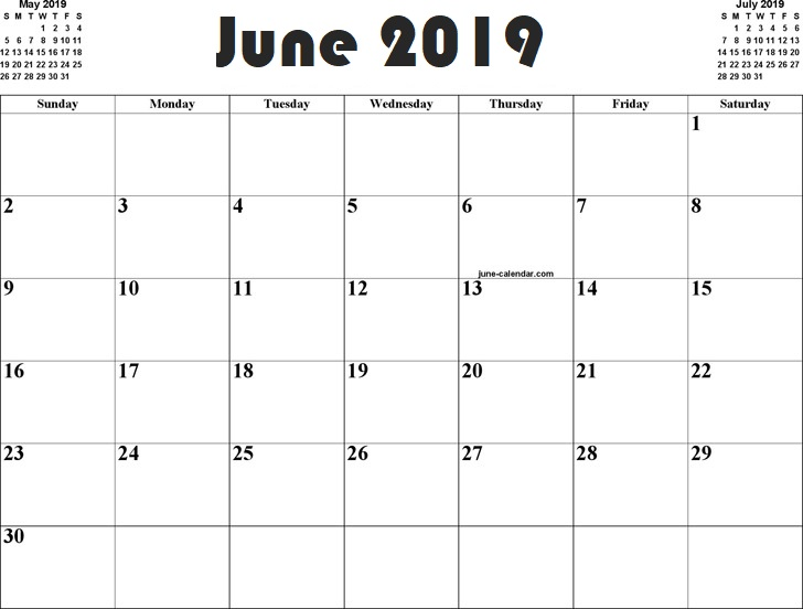 june 2019 calendar holidays template