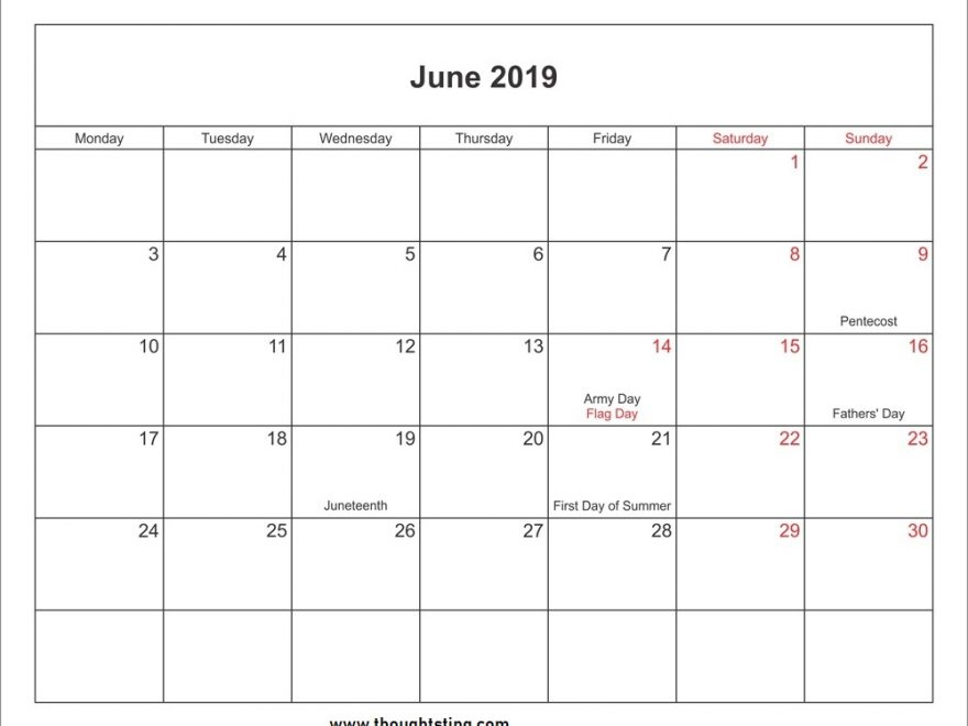 june 2019 holidays Calendar