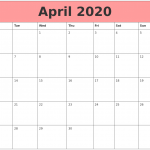 Blank April Calendar 2020 Free Printable Template