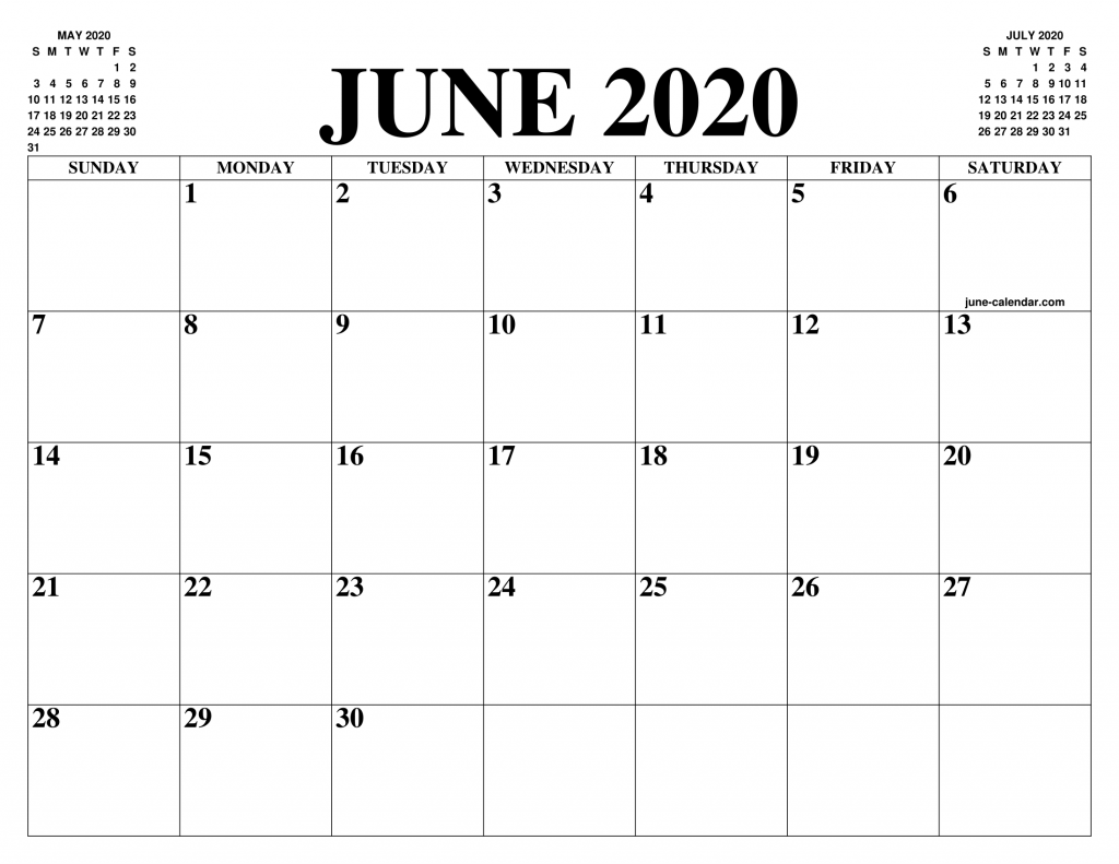 June 2019 To June 2020 Calendar Printable.Blank June 2020 Calendar Printable