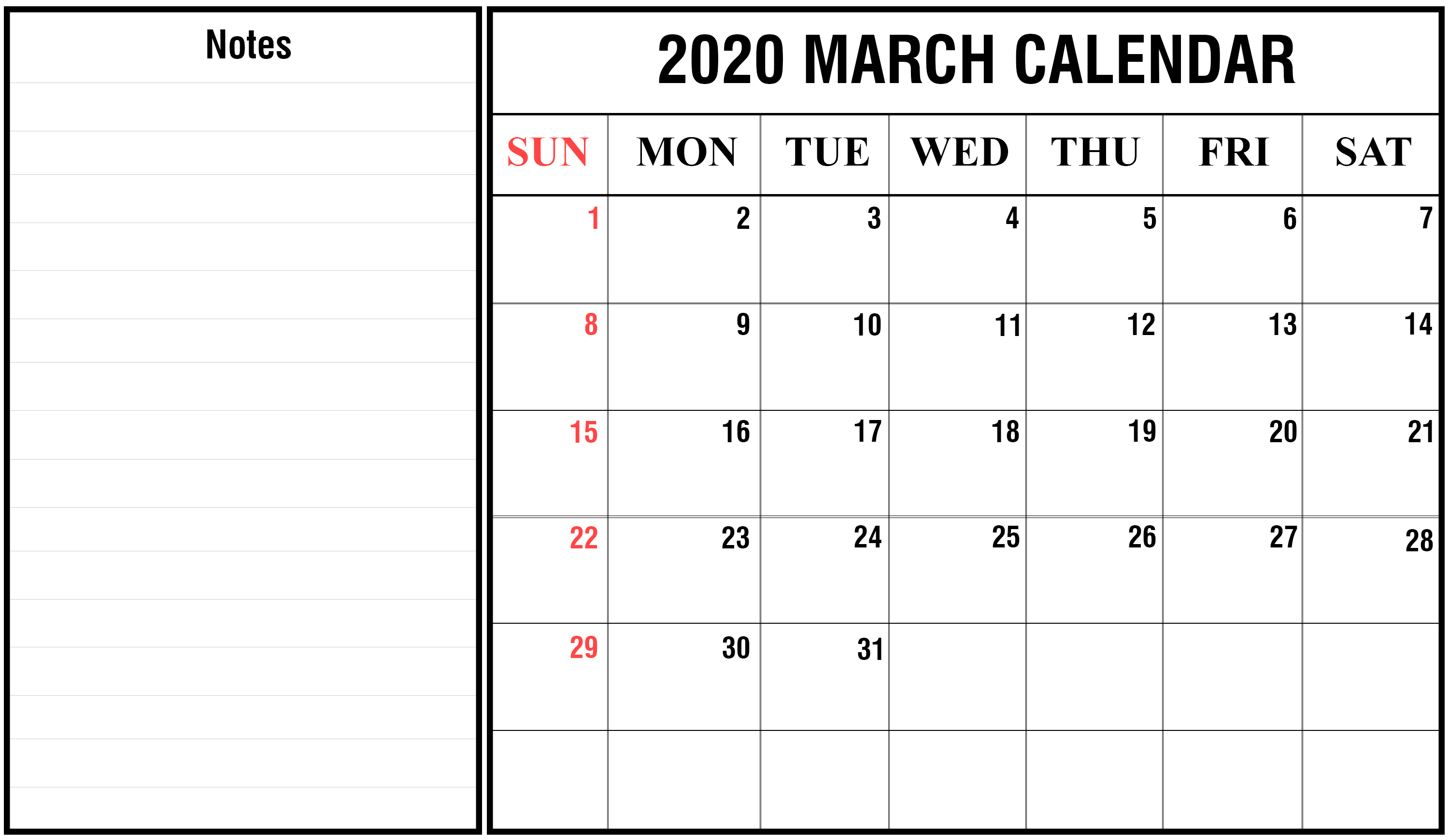 free printable march calendar 2020 blank template editable