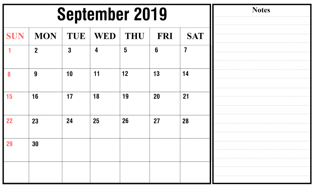 Fillable Calendar For September 2019