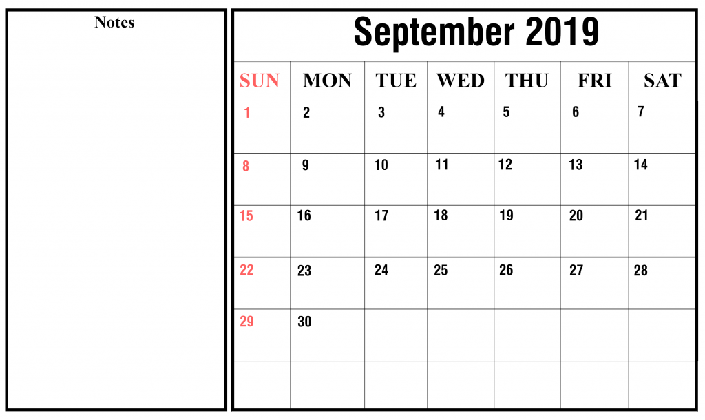 September 2019 Calendar Fillable