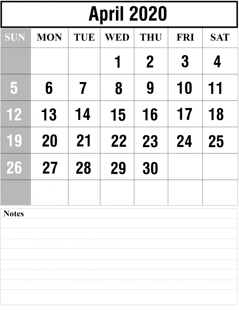 Calendar April 2020 Fillable Template