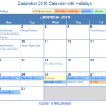 December Holidays 2019 Calendar with Festival Dates of USA, UK, Canada & Other Countries