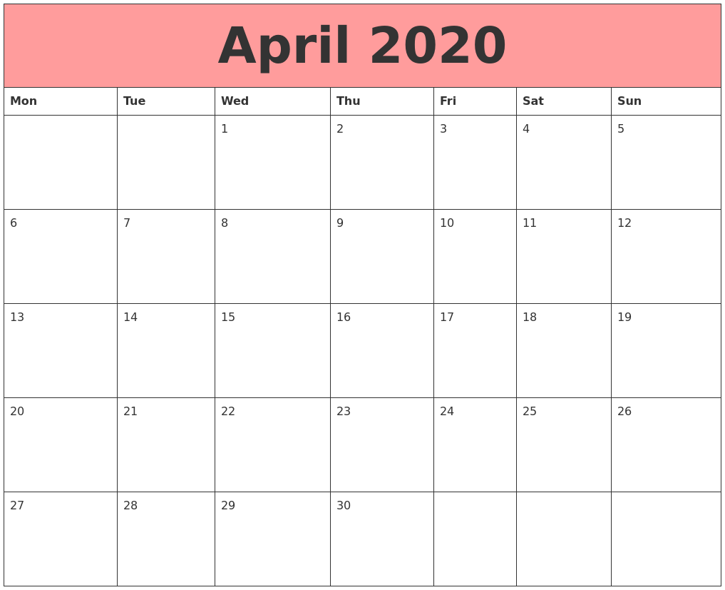 Fillable Calendar April 2020 Template
