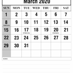 Editable March 2020 Fillable Calendar Printable Template With Notes