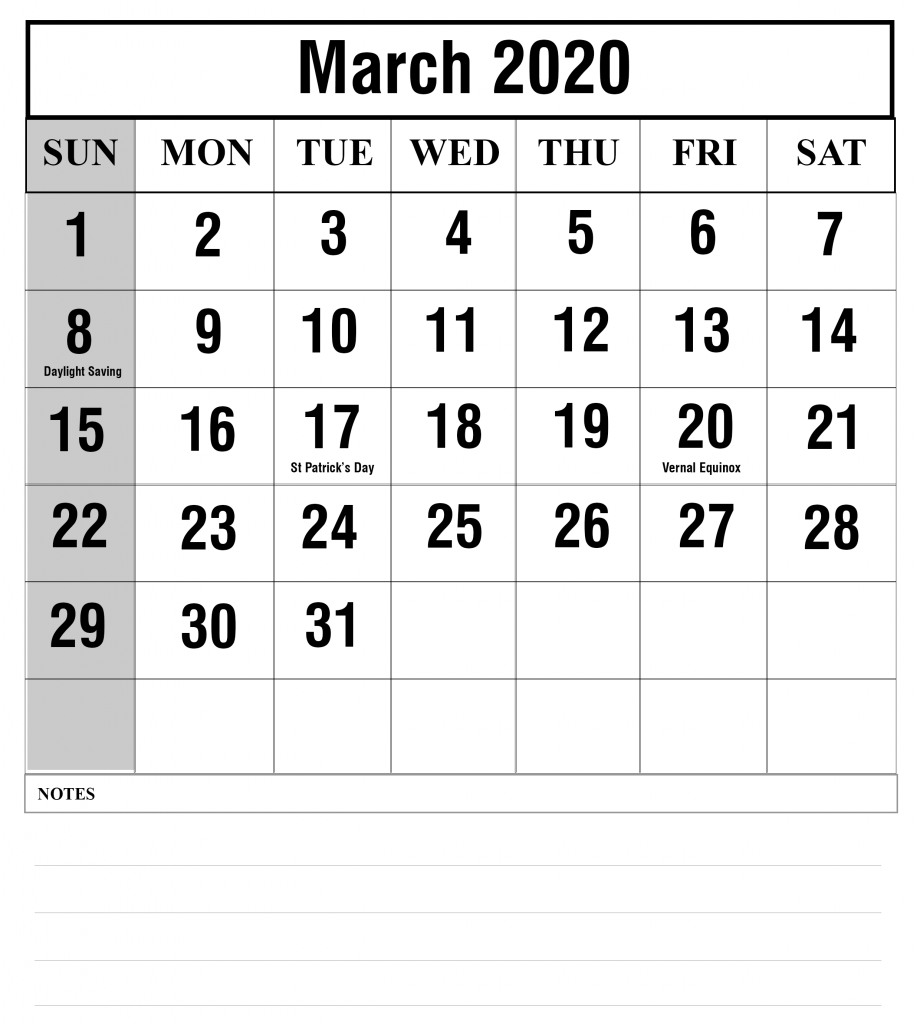 Fillable Calendar For March 2020