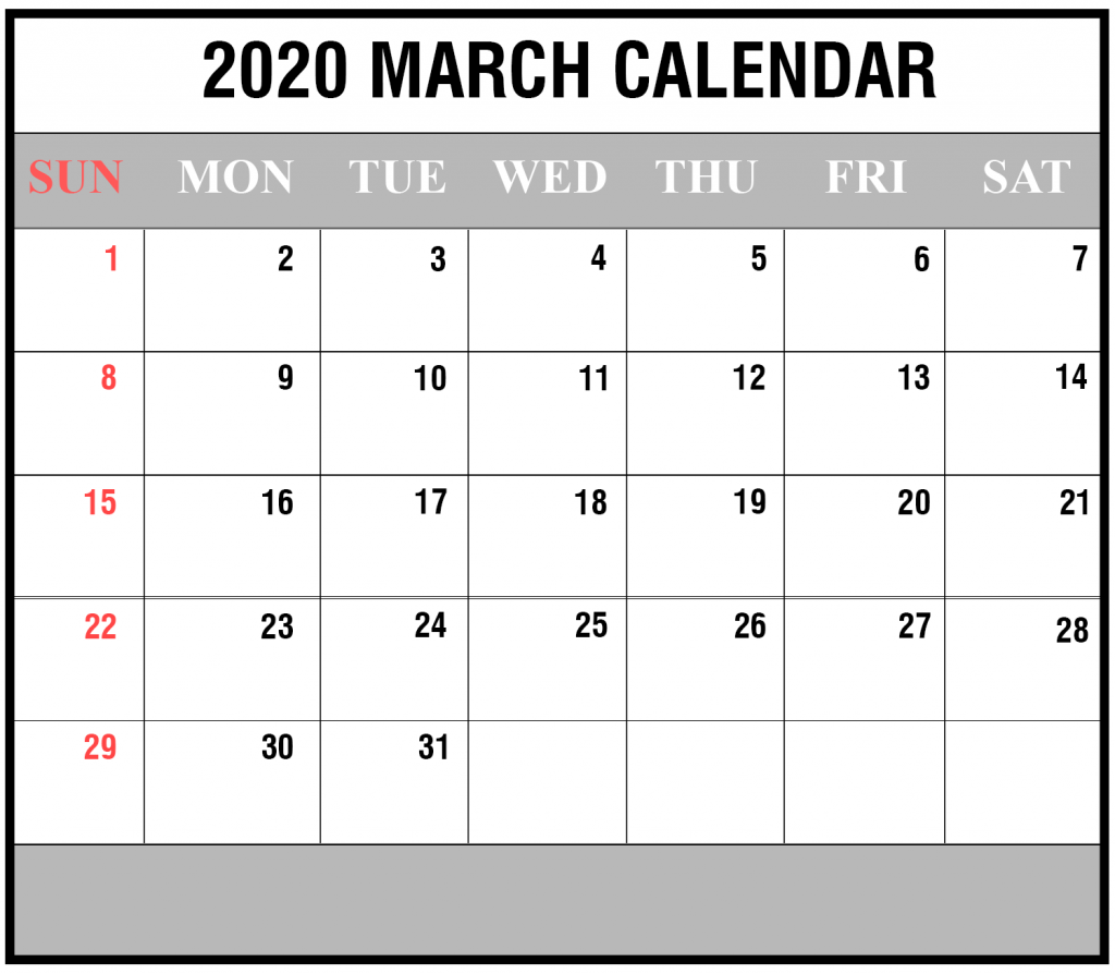 Free Calendar For March 2020 Printable