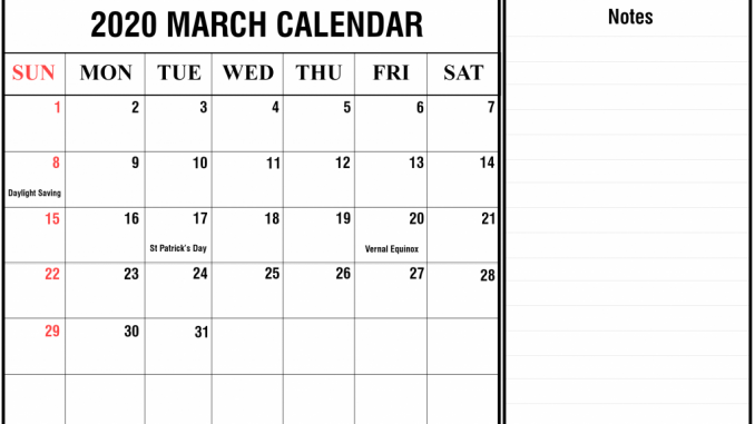 March 2020 Editable Calendar Template Notes