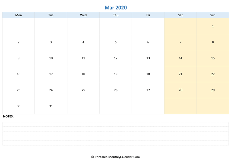 March 2020 Fillable Calendar with Notes