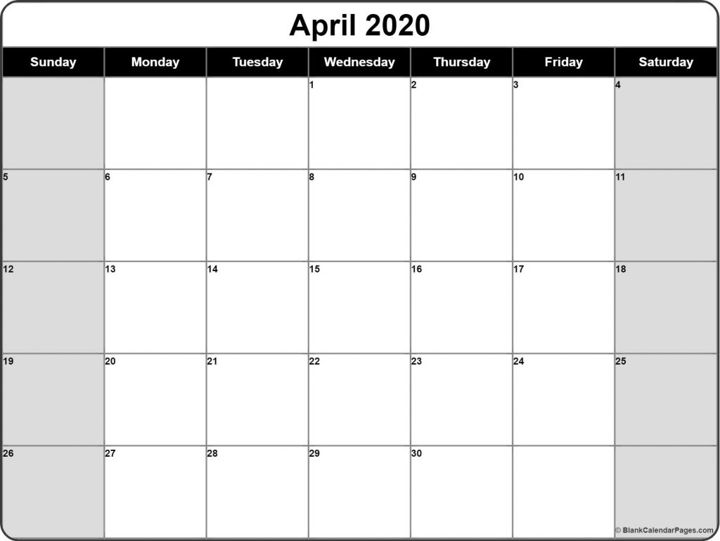 Monthly 2020 Printable Calendar April 2020