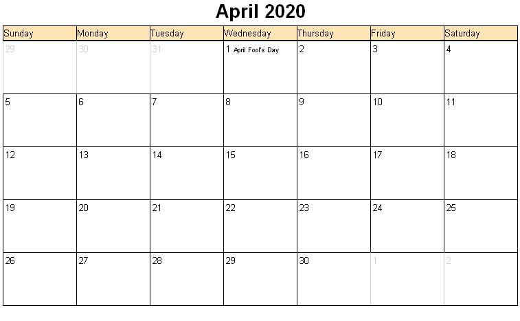 Printable Calendar April 2020 Editable Template