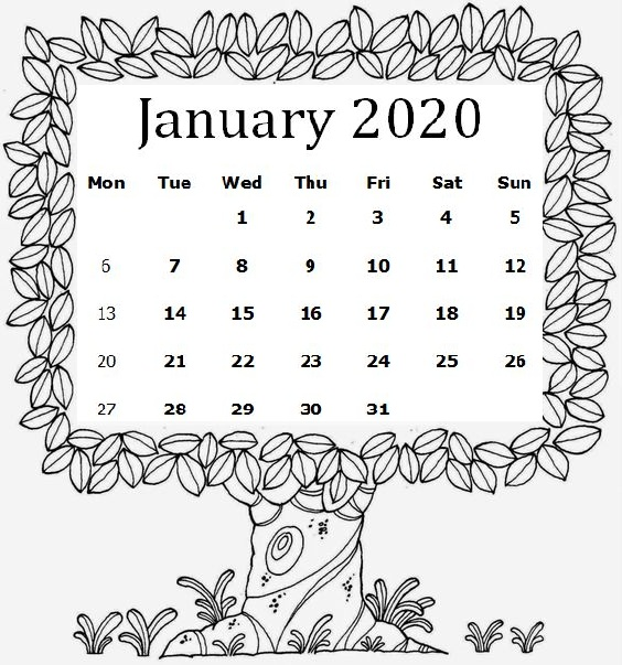 Cute January Calendar Coloring Page Template